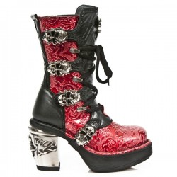 NEW ROCK NRK SKULL M.8366-S4 VINTAGE RED PATENT LEATHER STEEL HEEL BOOT