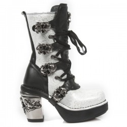 NEW ROCK NRK SKULL M.8366-S5 SILVER VINTAGE WHITE FLOWER LEATHER STEEL HEEL BOOT