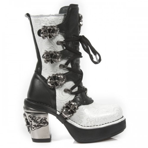 NEW ROCK NRK SKULL M.8366-S5 SILVER VINTAGE WHITE FLOWER LEATHER STEEL HEEL BOOT, NRK SKULL, NRK SKULL M.8366-S5, ,
