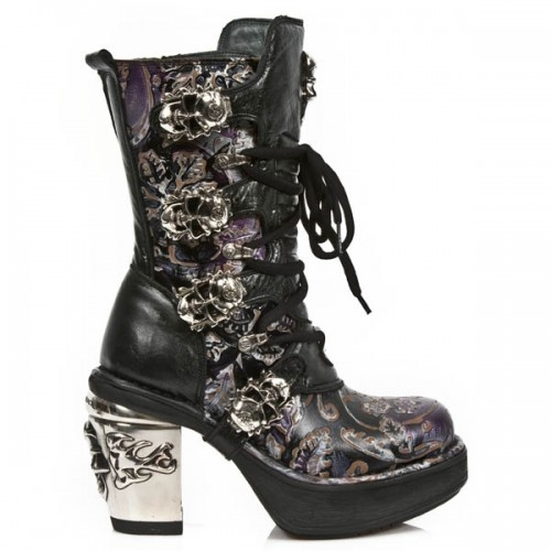 NEW ROCK NRK SKULL M.8366-S6 VINTAGE FLOWER LILAC LEATHER STEEL HEEL BOOT, NRK SKULL, NRK SKULL M.8366-S6, ,