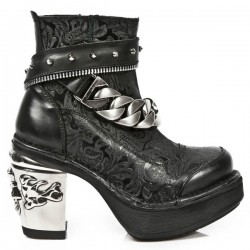 NEW ROCK NRK SKULL M.8361-S1 BLACK FLOWER LEATHER STEEL HEEL BOOT