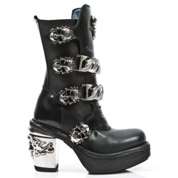 NEW ROCK NRK SKULL M.8356-S1 BLACK LEATHER STEEL HEEL BOOT