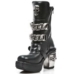 NEW ROCK NRK SKULL M.8356-S1 BLACK LEATHER STEEL HEEL BOOT, NRK SKULL, SKULL M.8356-S1, ,