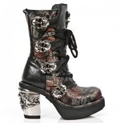 NEW ROCK NRK SKULL M.8366-S7 VINTAGE RED FLOWER LEATHER STEEL HEEL BOOT