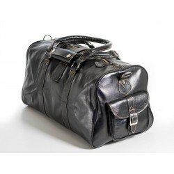 'HOLDALL' Black Medium Weekend Duffle Travel Gym Real Genuine Leather Bag