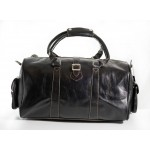 HOLDALL  Black Medium Weekend Duffle Travel Gym Real Genuine Leather Bag, Leather Holdalls, HOLDALL  Black Medium, ,
