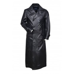 Mens Gents Black Long Double Breasted Over Coat Napa Italian Leather Jacket Coat