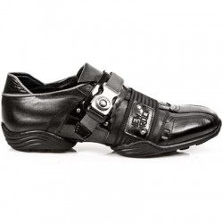 NEW ROCK ABS M.8147-S1 BLACK LEATHER STEEL BUCKLE TRAINER SHOES