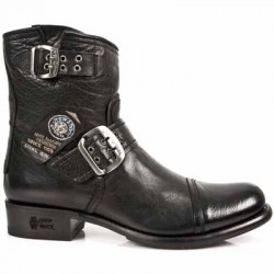 NEW ROCK BIKER GY M.GY05-S1 BUFFALO BLACK LEATHER BOOTS BKT710