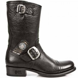 NEW ROCK BIKER GY M.GY01 BUFFALO BLACK LEATHER BOOTS BKT710