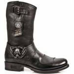 NEW ROCK BIKER GY M.GY07-S1 BUFFALO BLACK LEATHER BOOTS BKT 710, BIKER GY, NEW ROCK BIKER GY M.GY07-S1, BIKER GY M.GY07-S1,