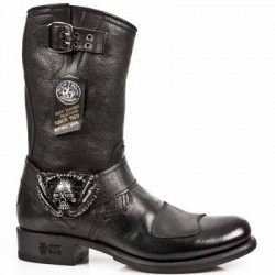 NEW ROCK BIKER GY M.GY07-S1 BUFFALO BLACK LEATHER BOOTS BKT 710
