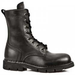 NEW ROCK COMFORT-FIT M.1423-S1 BLACK LEATHER LACE UP BOOTS