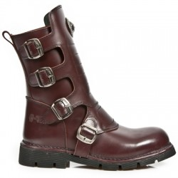 NEW ROCK COMFORT-FIT M.1471-S3 WINE LEATHER BOOTS