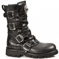 NEW ROCK COMFORT-FIT M.1473-S1 BLACK LEATHER BOOTS