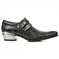 NEW ROCK DALLAS M.2246-S24 Black Vinatge Flower Leather Metal Heel Cowboys Shoes