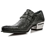NEW ROCK DALLAS M.2246-S24 Black Vinatge Flower Leather Metal Heel Cowboys Shoes, DALLAS, NEW ROCK DALLAS M.7934PT-S3, DALLAS M.7934PT-S3,