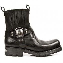NEW ROCK MOTORCYCLE M.7605-S1 Black Leather Silver Buckle Boots