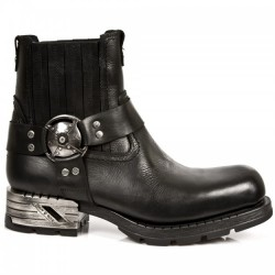 NEW ROCK MOTOROCK M.MR007-S1 BLACK STEEL HEEL LEATHER BOOTS