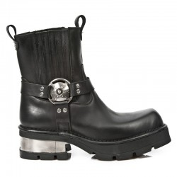NEW ROCK NEOBIKER M.1605-S1 BLACK STEEL LEATHER BOOTS