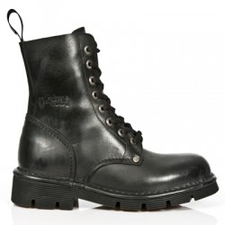 NEW ROCK NEWMILI M.NEWMILI084-S1 BLACK LEATHER LACE UP BOOTS