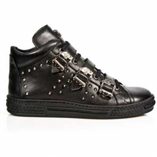 NEW ROCK PISA M.PS007-S1 BLACK LEATHER LACE UP SHOES, PISA, PISA M.PS007-S1, PISA M.PS007-S1,