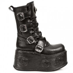NEW ROCK SPACE M.1473-S3 PLATFORM BLACK BOOTS