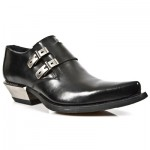 NEW ROCK WEST M.7934-S1 Black Leather Metal Heel Cowboys Shoes, WEST, WEST M.7934-S1, WEST M.7934-S1,