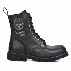 NEW ROCK ZOMBIE BOY M.NEWMILI084-Z1 BLACK, EMBROIDERY WITH CANE, LEATHER BOOTS
