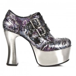 NEW ROCK DARK METAL M.DK020-C12 DARK LILAC FLOWER VINTAGE STEEL METAL HEEL AC