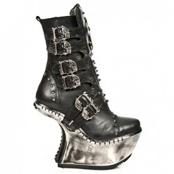 NEW ROCK EXTREME M.EXT005-S1 BLACK LEATHER STEEL BOOTS