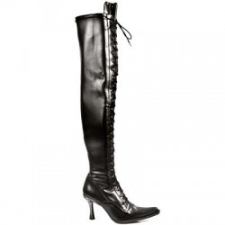 NEW ROCK MALICIA M.9026-C10 BLACK LEATHER AND ELASTIC MALICIA HEEL