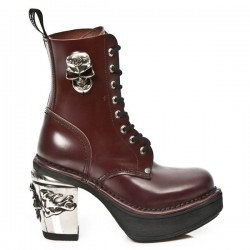 NEW ROCK NRK SKULL M.8358-S2 BLACK LEATHER STEEL HEEL BOOT