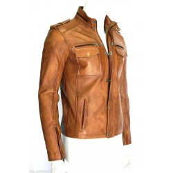 Glenn Men's Gents Tan Designer Real Sheep Napa Washed Lambskin Leather Jacket